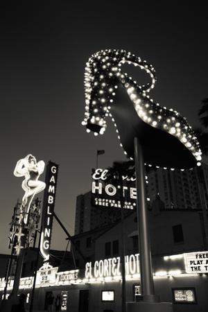 Ruby Slipper Neon Sign Lit Up at Dusk, Fremont Street, Las Vegas, Nevada, USA