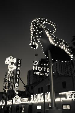 Ruby Slipper Neon Sign Lit Up at Dusk, Fremont Street, Las Vegas, Nevada, USA