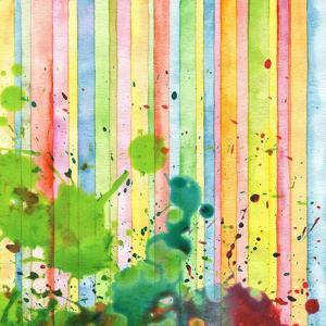 Abstract Strip And Blot Watercolor Painted Background by Rudchenko Liliia