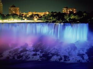 Niagara Falls with Blue Light, NY by Rudi Von Briel