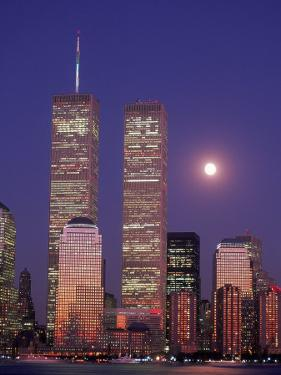 World Trade Center and Moon, NYC by Rudi Von Briel