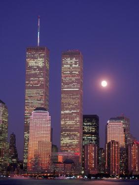 World Trade Center and Moon, NYC by Rudi Von Briel