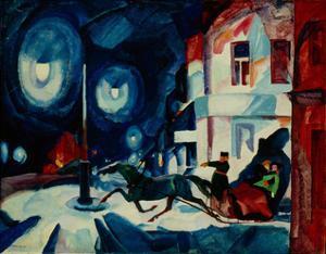 The Nevsky Prospekt at Night. Coachman, 1923 by Rudolph Rudolphovich Frenz