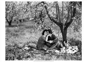 Rudolph Valentino with Alla Nazimova Under Blossom Tree, 1921