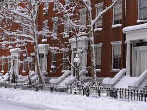 Brownstones in Blizzard by Rudy Sulgan