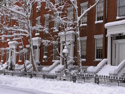 Brownstones in Blizzard by Rudy Sulgan