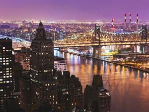 Queensborough Bridge and Roosevelt Island at Twilight by Rudy Sulgan