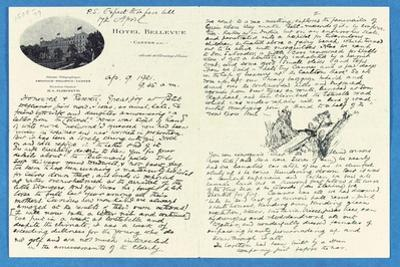 Autograph Letter to Col. H. W. Feilden, Hotel Bellvue Cannes, 9th April, 1921