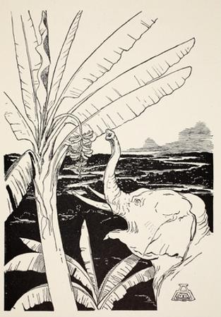 The Elephant's Child Going to Pull Bananas Off a Banana-Tree after He Had Got His Fine New Trunk
