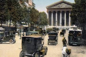Rue Royale and the Madeleine, Paris, with Cars and a Motorbus on the Street, C1900
