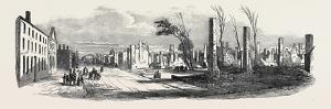 Ruins of the Great Fire at Montreal, St. Denis Street, Near the Bishop's Church, 1852