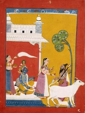 Rukmini Offering Water to the Sage Narada While Her Consort Krishna Sits in Her House