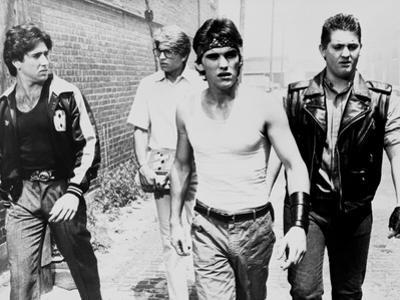 RUMBLE FISH, 1983 directed by FRANCIS FORD COPPOLA Nicolas Cage, Matt Dillon and Chris Penn (b/w ph