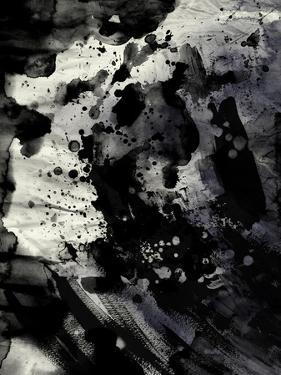 Abstract Black Ink Painting On Grunge Paper Texture by run4it