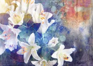 Artistic Abstract Watercolor Painting with Lily Flowers on Paper Texture by run4it