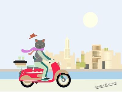 Fashionable Hipster Cat On A Vintage Scooter In A City- Illustration by run4it