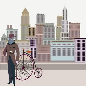 Retro New York Illustration - Vintage Bird On A Bike by run4it