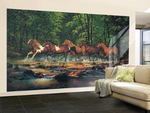 Running Horses Huge Mural Art Print Poster Large