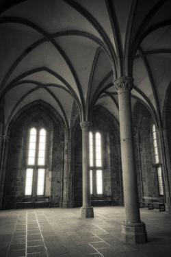 Abbey interior, Mont Saint-Michel monastery, Normandy, France by Russ Bishop