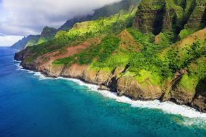 Afternoon light on the Na Pali Coast, Coast Wilderness State Park, Kauai, Hawaii, USA. by Russ Bishop