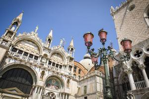 Basilica San Marcoand street lamp, Venice, Veneto, Italy by Russ Bishop