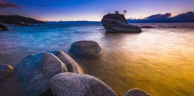 Bonsai Rock at sunset, Lake Tahoe, Nevada USA by Russ Bishop