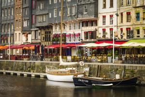 Cafes and Sailboats on the Harbor, Honfleur, Normandy, France by Russ Bishop