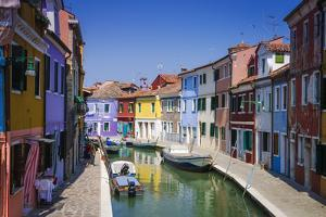 Colorful houses and canal, Burano, Veneto, Italy by Russ Bishop