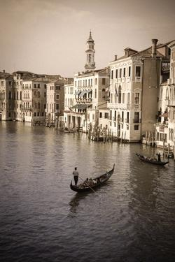 Evening light and gondolas on the Grand Canal, Venice, Veneto, Italy by Russ Bishop