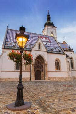 Evening Light on Saint Mark's Church in Old Town Gradec, Zagreb, Croatia by Russ Bishop