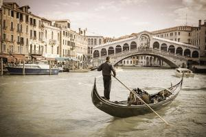 Gondola at the Rialto Bridge on the Grand Canal, Venice, Veneto, Italy by Russ Bishop