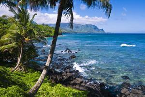 Hideaways Beach and the Na Pali Coast, Island of Kauai, Hawaii, USA by Russ Bishop