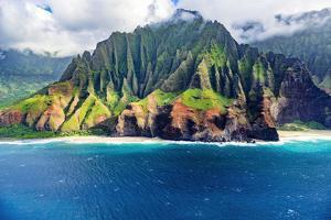 Kalalau Beach on the Na Pali Coast, Coast Wilderness State Park, Kauai, Hawaii, USA. by Russ Bishop