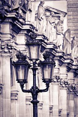 Lamp post and columns at the Louvre Palace, Louvre Museum, Paris, France by Russ Bishop