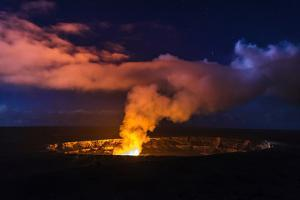 Lava Steam Vent Glowing at Night in Halemaumau Crater, Hawaii Volcanoes National Park, Hawaii, Usa by Russ Bishop
