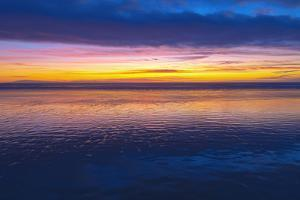 Low Tide and Sunset over Santa Cruz Island, Channel Islands National Park, Ventura, California, Usa by Russ Bishop