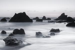Sea stacks at dusk, El Matador State Beach, Malibu, California, USA. by Russ Bishop