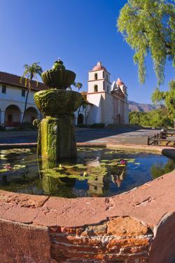 Spanish fountain at the Santa Barbara Mission, Santa Barbara, California, USA by Russ Bishop