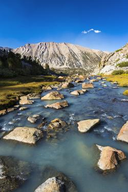 Stream in Sam Mack Meadow, John Muir Wilderness, Sierra Nevada Mountains, California, USA. by Russ Bishop