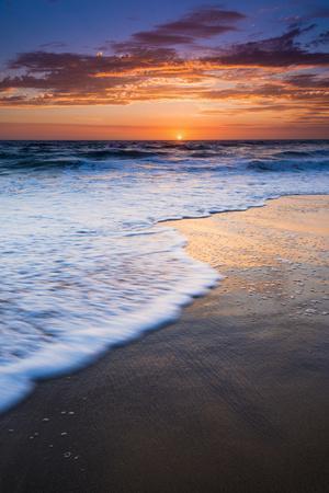 Sunset over the Pacific Ocean from Ventura State Beach, Ventura, California, USA