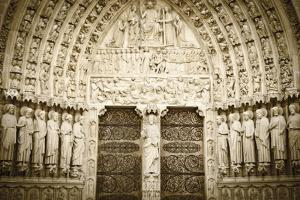 The Main Entrance to Notre Dame Cathedral, Paris, France by Russ Bishop
