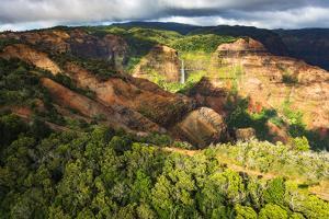 Waipoo Falls and the Waimea Canyon highway, Waimea Canyon State Park, Kauai, Hawaii, USA. by Russ Bishop