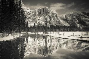 Yosemite Falls above the Merced River in winter, Yosemite National Park, California, USA by Russ Bishop