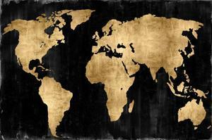 The World - Gold on Black by Russell Brennan