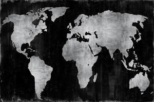 The World - Silver on Black by Russell Brennan