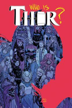 Thor No. 6 Cover, Featuring: Captain Marvel, Loki, Angela, Valkyrie, Frigg, Sif, Enchantress by Russell Dauterman