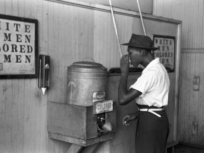 """Colored"" Water Cooler in Streetcar Terminal, Oklahoma City, Oklahoma by Russell Lee"