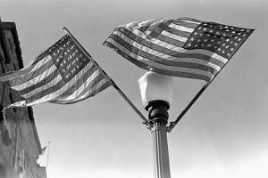 Flags on Lightpost by Russell Lee