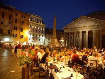 Outdoor Dining at Night, Piazza Della Rotonda, Pantheon in Background by Russell Mountford