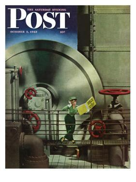"""How to Operate a Power Plant,"" Saturday Evening Post Cover, October 2, 1943 by Russell Patterson"